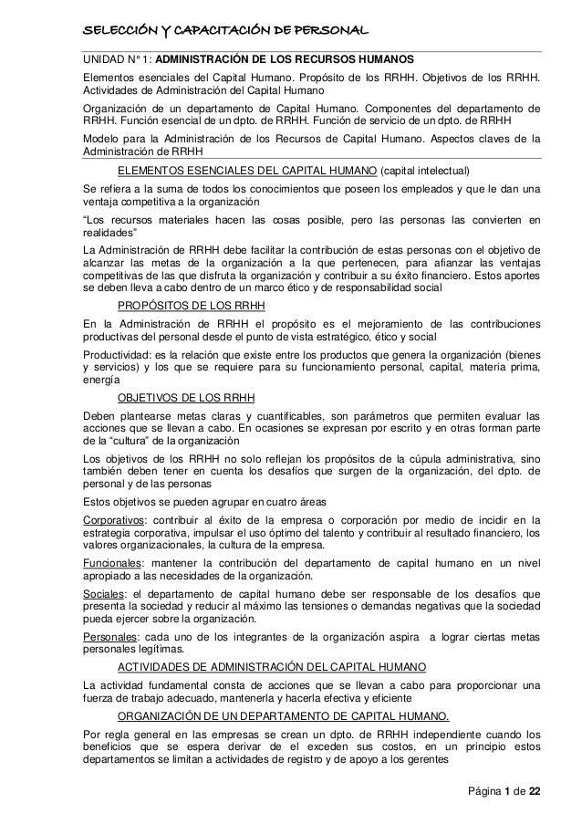 SELECCIÓN Y CAPACITACIÓN DE PERSONAL Página 1 de 22 UNIDAD N° 1: ADMINISTRACIÓN DE LOS RECURSOS HUMANOS Elementos esencial...