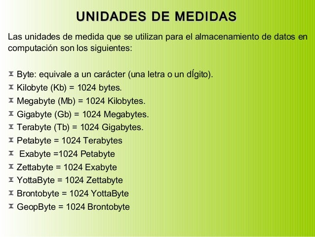 UNIDADES DE MEDIDASUNIDADES DE MEDIDAS Las unidades de medida que se utilizan para el almacenamiento de datos en computaci...