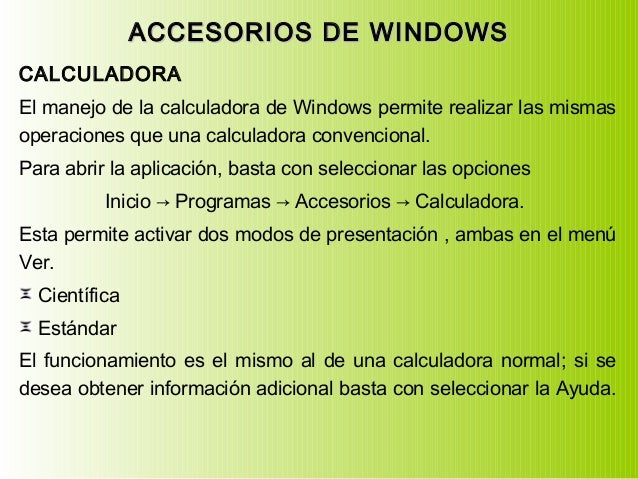 Unidades de medidas, Accesorios de Windows, Herramientas del sistema Slide 2