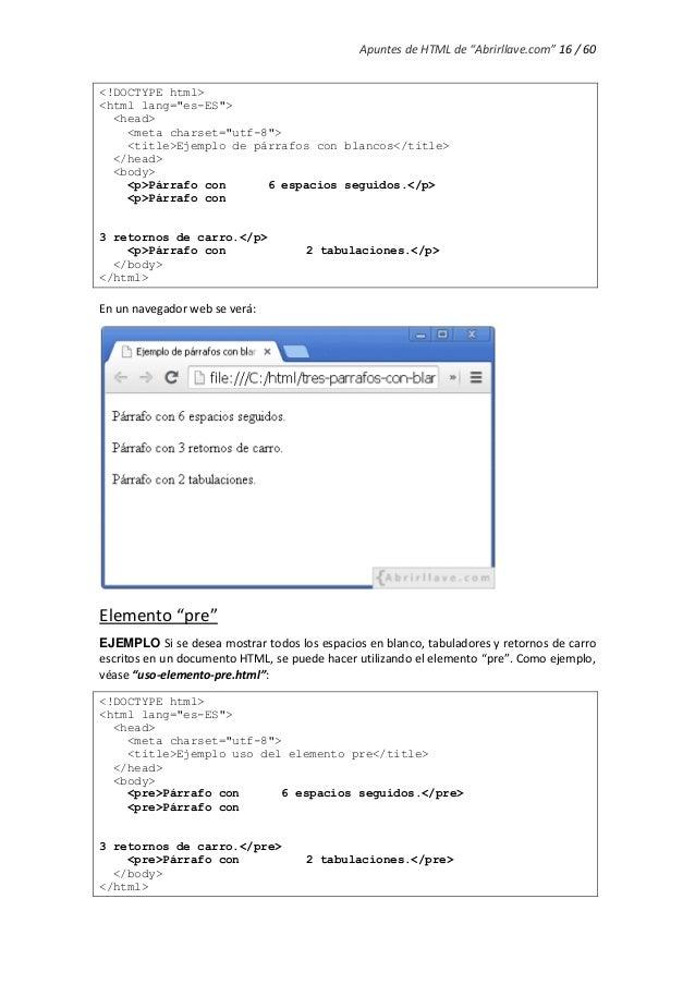 Html Espacio En Blanco Introduccin With Html Espacio En Blanco - Espacio-en-blanco-html