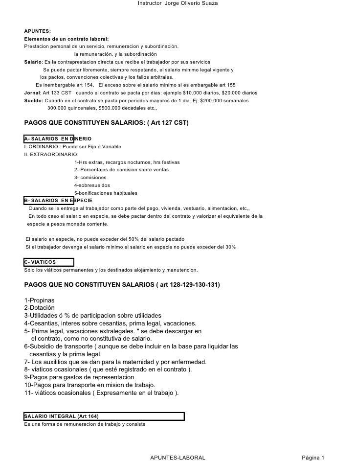 Instructor Jorge Oliverio Suaza    APUNTES: Elementos de un contrato laboral: Prestacion personal de un servicio, remunera...