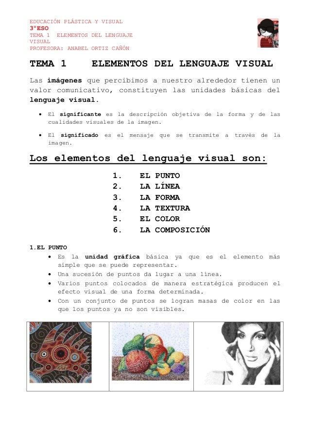 EDUCACIÓN PLÁSTICA Y VISUAL 3ºESO TEMA 1 ELEMENTOS DEL LENGUAJE VISUAL PROFESORA: ANABEL ORTIZ CAÑÓN TEMA 1 ELEMENTOS DEL ...