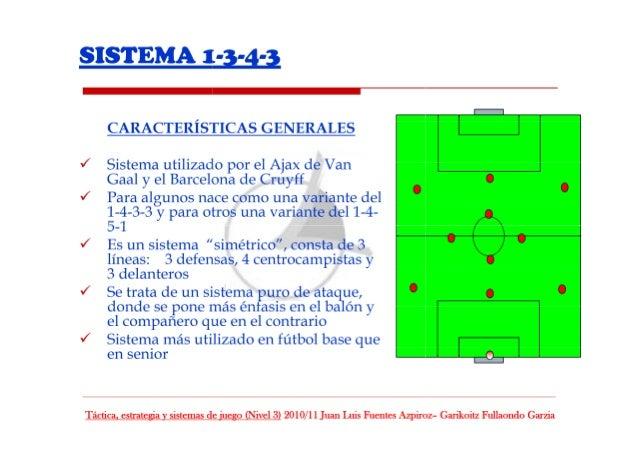 SISTEMA 1-3-4-3     CARACTERÍSTICAS GENERALES  J Sistema utilizado por el Ajax de Van Gaal y el Barcelona de Cruyff  J Par...