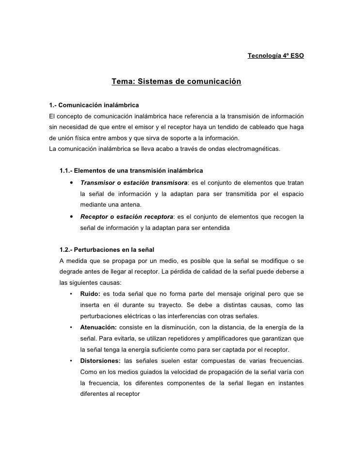 Tecnología 4º ESO                          Tema: Sistemas de comunicación  1.- Comunicación inalámbrica El concepto de com...