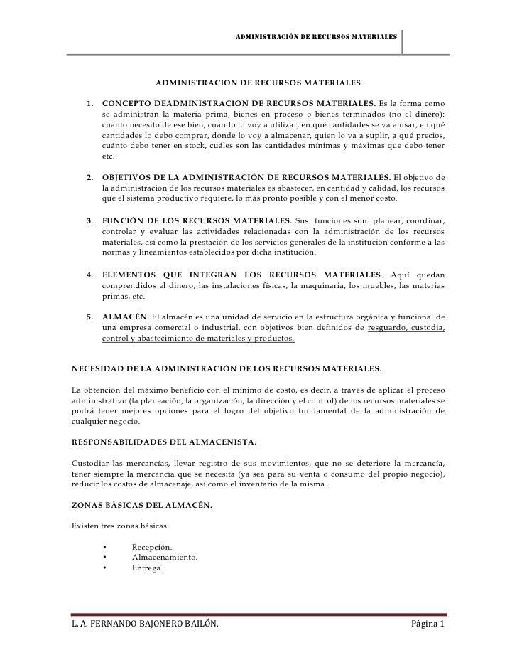 Administración de recursos materiales                       ADMINISTRACION DE RECURSOS MATERIALES    1.   CONCEPTO DEADMIN...