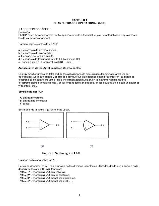 CAPÍTULO 1 EL AMPLIFICADOR OPERACIONAL (AOP) 1.1 CONCEPTOS BÁSICOS Definición: El AOP es un amplificador CC multietapa con...