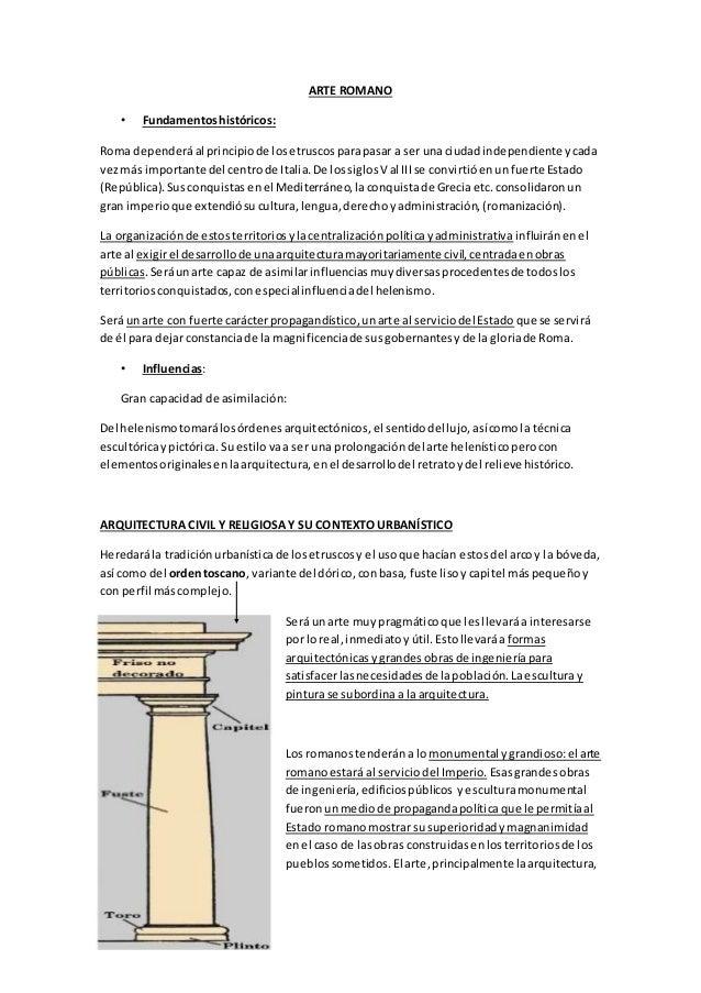 ARTE ROMANO • Fundamentoshistóricos: Roma dependeráal principiode losetruscosparapasar a ser unaciudadindependiente ycada ...