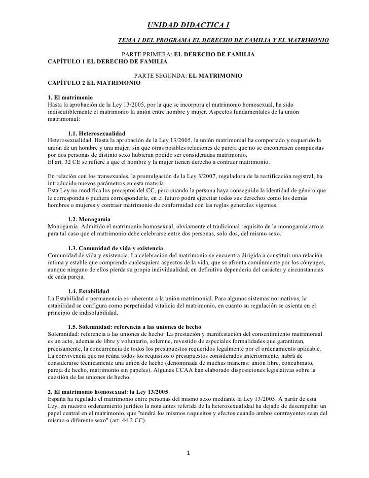 UNIDAD DIDACTICA I                            TEMA 1 DEL PROGRAMA EL DERECHO DE FAMILIA Y EL MATRIMONIO                   ...