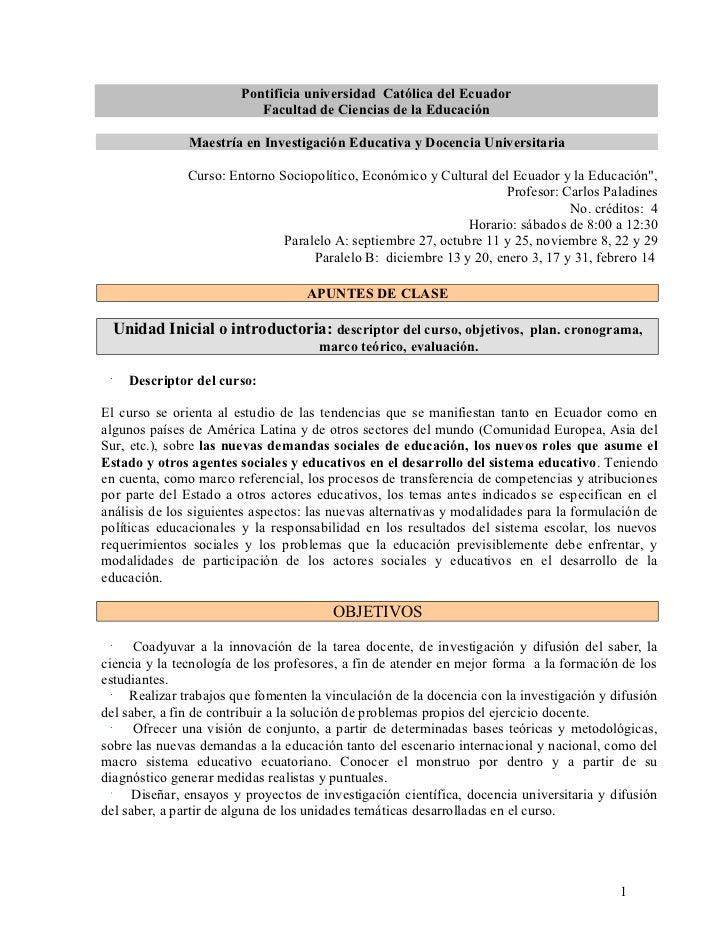 Pontificia universidad Católica del Ecuador                           Facultad de Ciencias de la Educación               M...