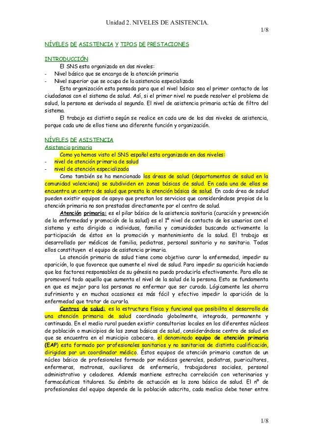 Apuntes clase niveles_de_asistencia._el_hospital