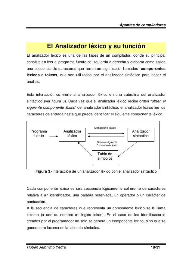 Apuntes de compiladores  El Analizador léxico y su función El analizador léxico es una de las fases de un compilador, dond...