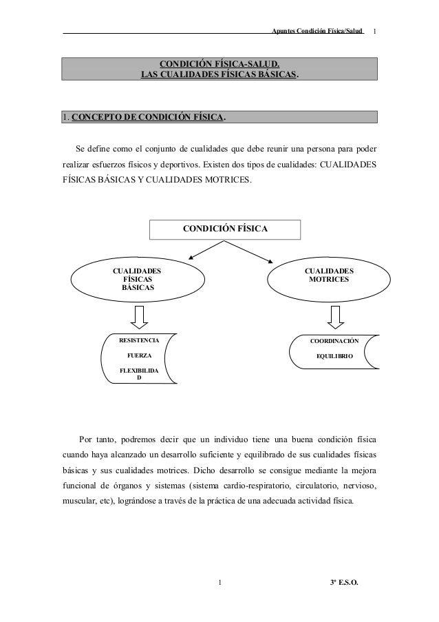 Apuntes Condición Física/Salud CONDICIÓN FÍSICA-SALUD. LAS CUALIDADES FÍSICAS BÁSICAS. 1. CONCEPTO DE CONDICIÓN FÍSICA. Se...