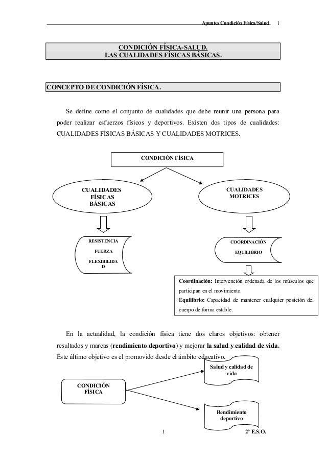 Apuntes Condición Física/Salud CONDICIÓN FÍSICA-SALUD. LAS CUALIDADES FÍSICAS BÁSICAS. CONCEPTO DE CONDICIÓN FÍSICA. Se de...