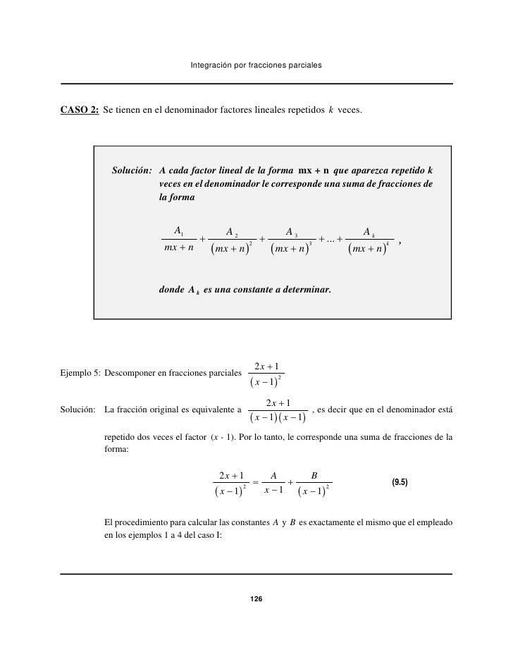 Integración por fracciones parcialesCASO 2: Se tienen en el denominador factores lineales repetidos k veces.             S...