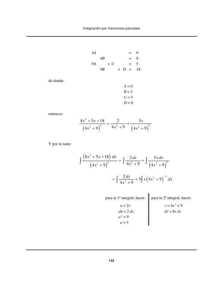 Integración por fracciones parciales                                4A            =                           0           ...