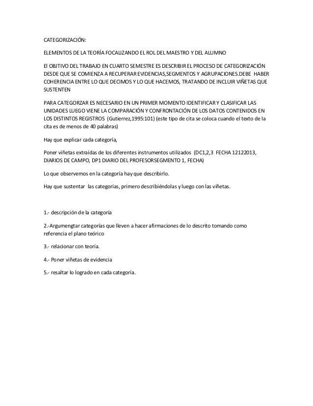 CATEGORIZACIÓN: ELEMENTOS DE LA TEORÍA FOCALIZANDO EL ROL DEL MAESTRO Y DEL ALUMNO El OBJTIVO DEL TRABAJO EN CUARTO SEMEST...
