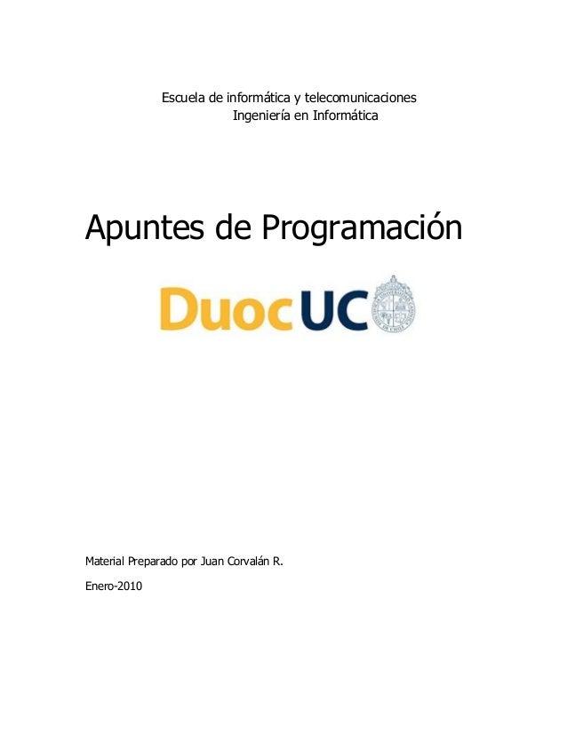 Escuela de informática y telecomunicaciones                           Ingeniería en InformáticaApuntes de ProgramaciónMate...