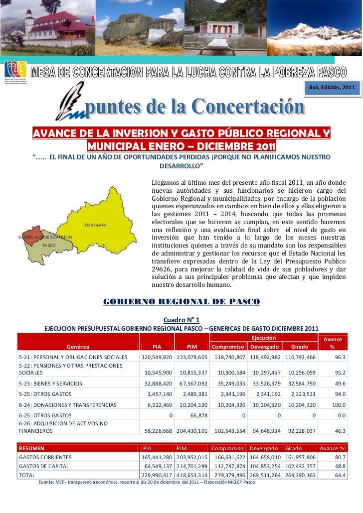 8va, Edición, 2011     AVANCE DE LA INVERSION Y GASTO PÚBLICO REGIONAL Y             MUNICIPAL ENERO – DICIEMBRE 2011     ...