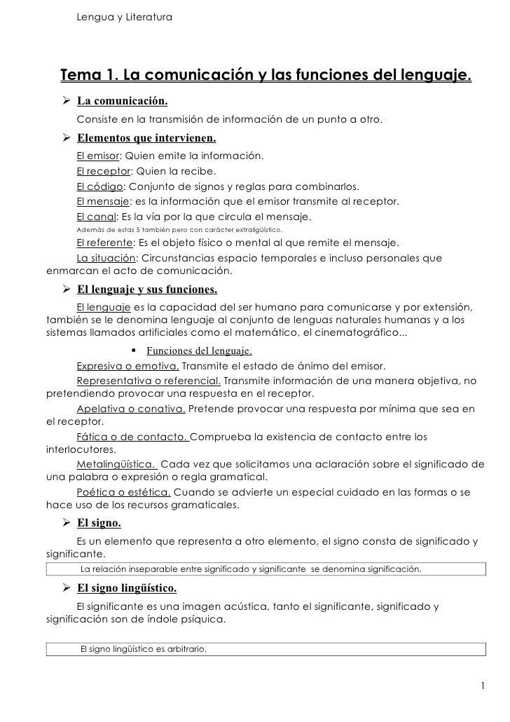 Lengua y Literatura        Tema 1. La comunicación y las funciones del lenguaje.     La comunicación.       Consiste en l...