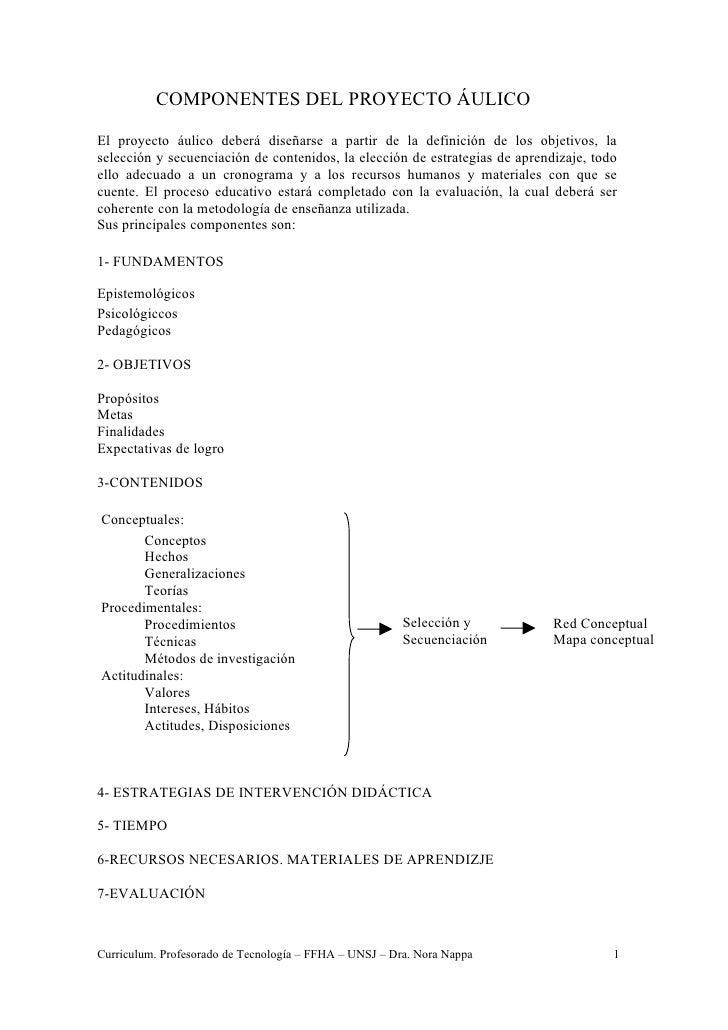 COMPONENTES DEL PROYECTO ÁULICOEl proyecto áulico deberá diseñarse a partir de la definición de los objetivos, laselección...