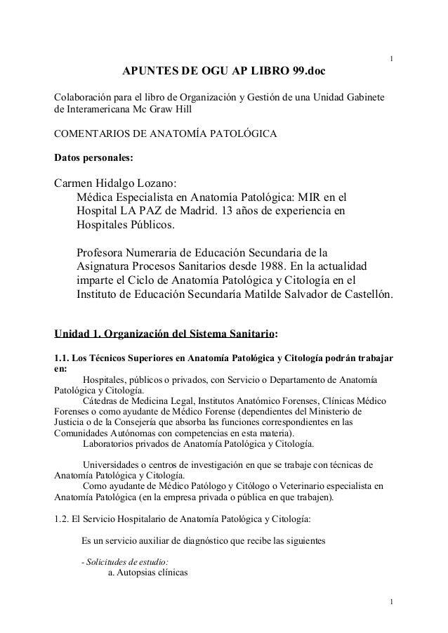 Organización en Anatomía Patológica C. Hidalgo 1999