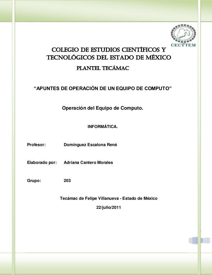 """COLEGIO DE ESTUDIOS CIENTÍFICOS Y            TECNOLÓGICOS DEL ESTADO DE MÉXICO                        PLANTEL TECÁMAC   """"A..."""