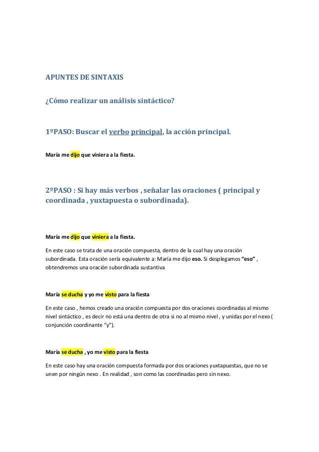 Apuntes De Sintaxis 4 Eso