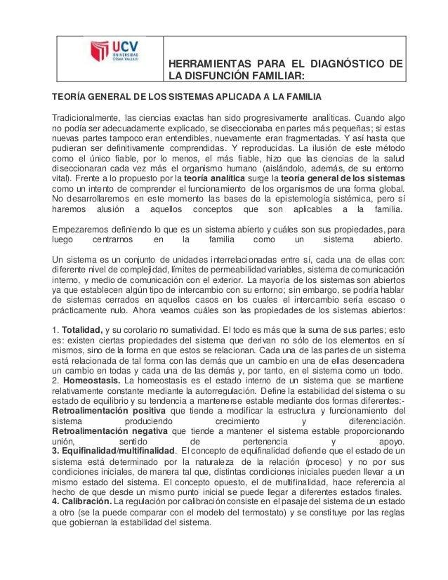 HERRAMIENTAS PARA EL DIAGNÓSTICO DE  LA DISFUNCIÓN FAMILIAR:  TEORÍA GENERAL DE LOS SISTEMAS APLICADA A LA FAMILIA  Tradic...