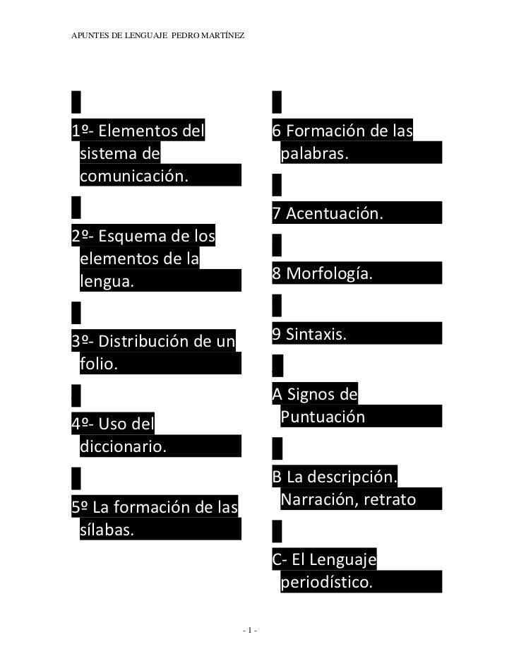 APUNTES DE LENGUAJE PEDRO MARTÍNEZ1                                        61º- Elementos del                        6 For...