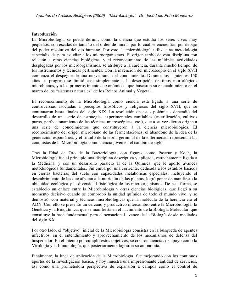 """Apuntes de Análisis Biológicos (2009) """"Microbiología"""" Dr. José Luis Peña Manjarrez    Introducción La Microbiología se pue..."""