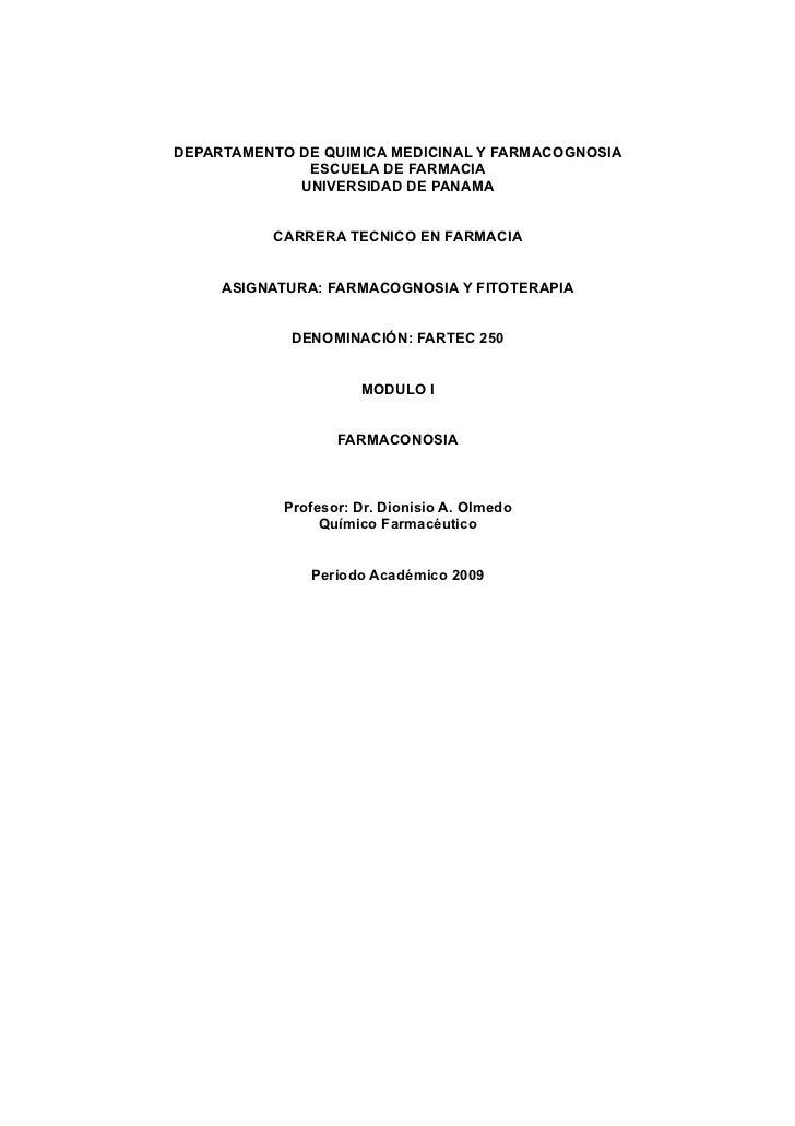 DEPARTAMENTO DE QUIMICA MEDICINAL Y FARMACOGNOSIA               ESCUELA DE FARMACIA              UNIVERSIDAD DE PANAMA    ...
