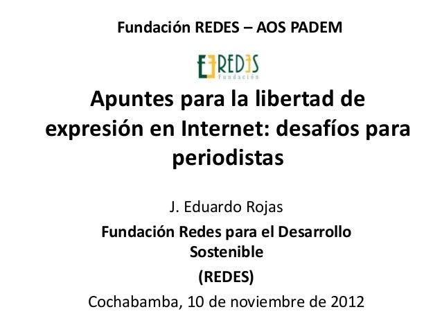 Fundación REDES – AOS PADEM    Apuntes para la libertad deexpresión en Internet: desafíos para            periodistas     ...