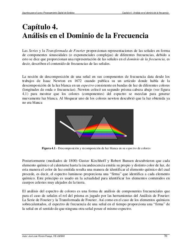 Apuntes para el curso: Procesamiento Digital de Señales Capítulo 4.- Análisis en el dominio de la frecuencia Autor: José J...
