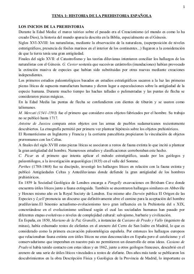1 TEMA 1: HISTORIA DE LA PREHISTORIA ESPAÑOLA LOS INICIOS DE LA PREHISTORIA Durante la Edad Media: el marco teórico sobre ...
