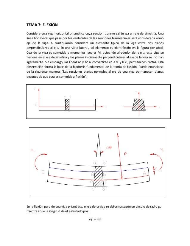 TEMA 7: FLEXIÓN Considere una viga horizontal prismática cuya sección transversal tenga un eje de simetría. Una línea hori...