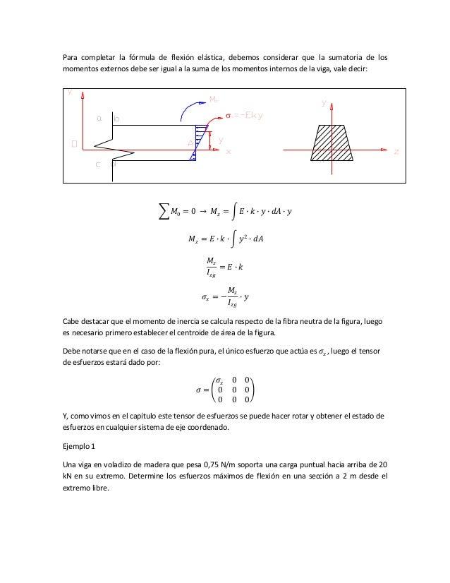 Para completar la fórmula de flexión elástica, debemos considerar que la sumatoria de los momentos externos debe ser igual...