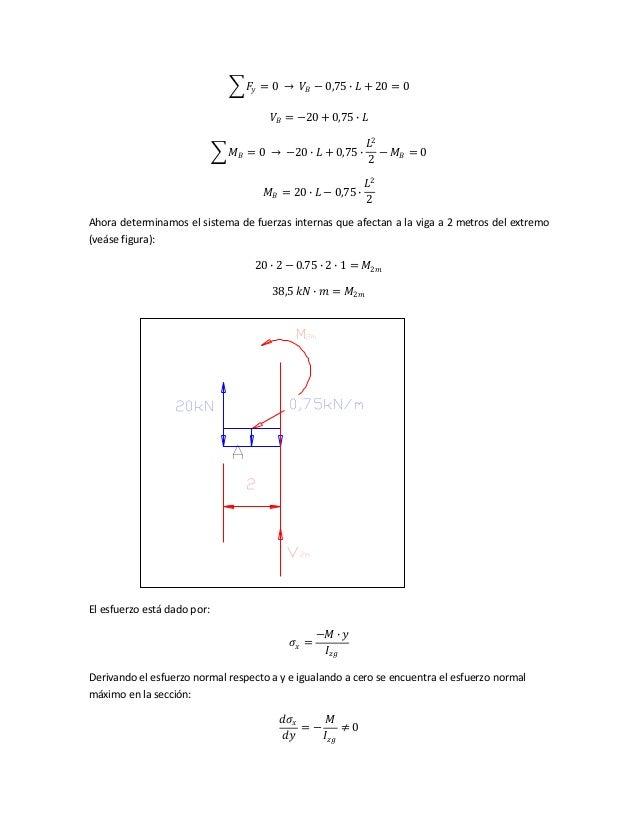 𝐹𝑦 = 0 → 𝑉𝐵 − 0,75 ∙ 𝐿 + 20 = 0 𝑉𝐵 = −20 + 0,75 ∙ 𝐿 𝑀 𝐵 = 0 → −20 ∙ 𝐿 + 0,75 ∙ 𝐿2 2 − 𝑀 𝐵 = 0 𝑀 𝐵 = 20 ∙ 𝐿 − 0,75 ∙ 𝐿2 2 A...