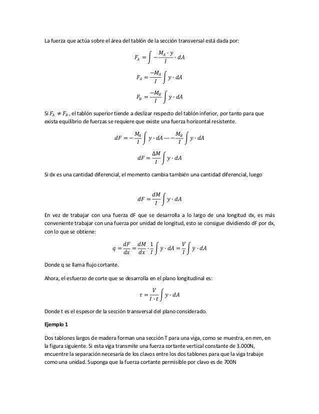 La fuerza que actúa sobre el área del tablón de la sección transversal está dada por: 𝐹𝐴 = − 𝑀𝐴 ∙ 𝑦 𝐼 ∙ 𝑑𝐴 𝐹𝐴 = −𝑀𝐴 𝐼 𝑦 ∙ ...