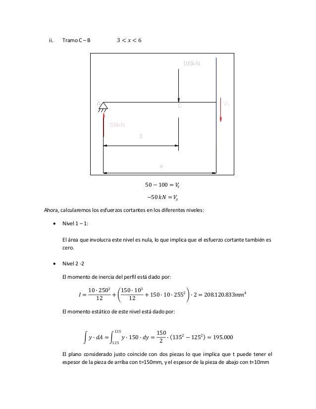 ii. Tramo C – B 3 < 𝑥 < 6 50 − 100 = 𝑉𝑥 −50 𝑘𝑁 = 𝑉𝑥 Ahora, calcularemos los esfuerzos cortantes en los diferentes niveles:...