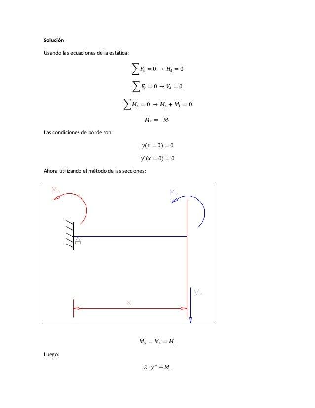 Solución Usando las ecuaciones de la estática: 𝐹𝑥 = 0 → 𝐻𝐴 = 0 𝐹𝑦 = 0 → 𝑉𝐴 = 0 𝑀𝐴 = 0 → 𝑀𝐴 + 𝑀1 = 0 𝑀𝐴 = −𝑀1 Las condicion...