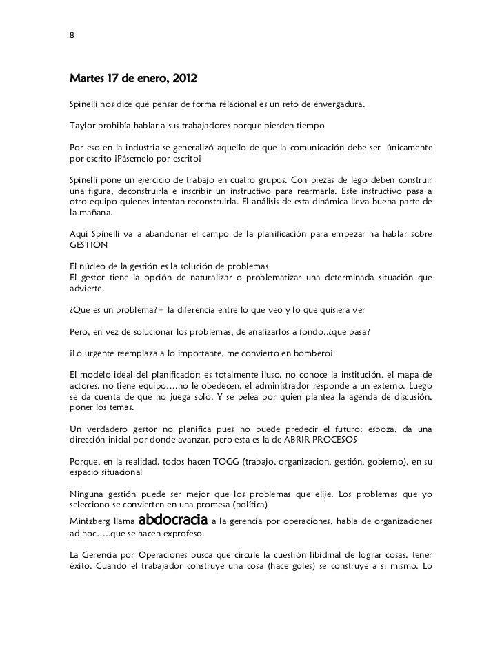 8Martes 17 de enero, 2012Spinelli nos dice que pensar de forma relacional es un reto de envergadura.Taylor prohibía habl...
