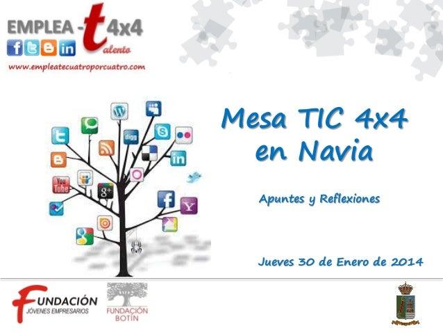 Mesa TIC 4x4 en Navia Apuntes y Reflexiones  Jueves 30 de Enero de 2014