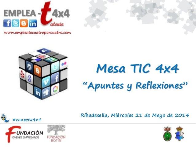 """Ribadesella, Miércoles 21 de Mayo de 2014 """"Apuntes y Reflexiones"""" Mesa TIC 4x4 #conecta4x4"""
