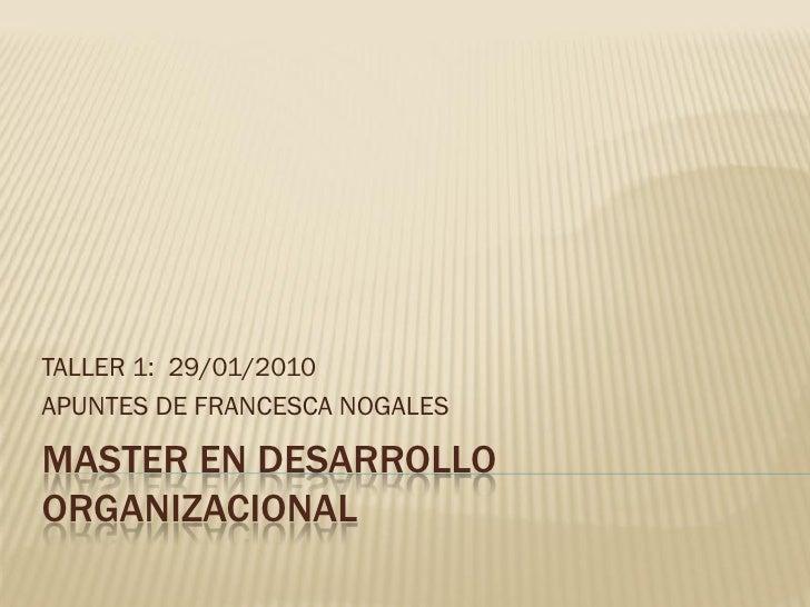 TALLER 1: 29/01/2010 APUNTES DE FRANCESCA NOGALES  MASTER EN DESARROLLO ORGANIZACIONAL