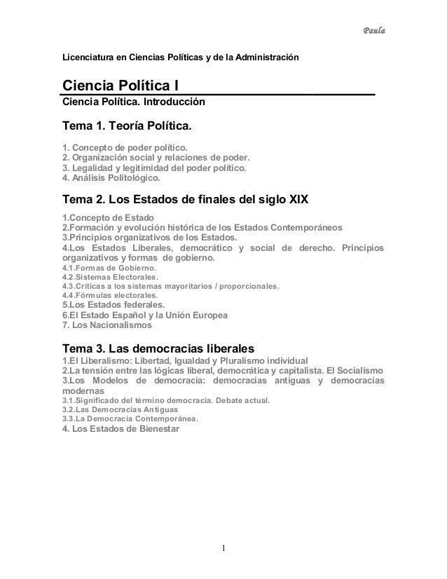 PaulaLicenciatura en Ciencias Políticas y de la AdministraciónCiencia Política ICiencia Política. IntroducciónTema 1. Teor...