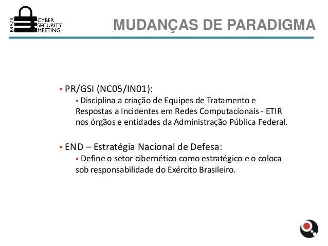 MUDANÇAS DE PARADIGMA   PR/GSI (NC05/IN01):       Disciplina                 a criação de Equipes de Tratamento e      R...
