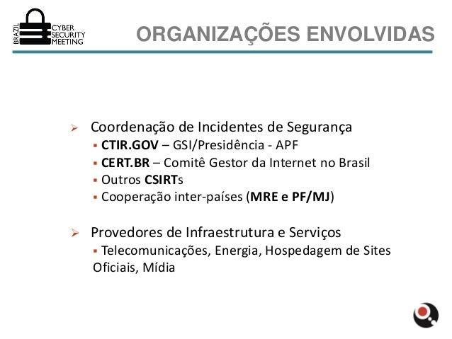 ORGANIZAÇÕES ENVOLVIDAS   Coordenação de Incidentes de Segurança     CTIR.GOV – GSI/Presidência - APF     CERT.BR – Com...
