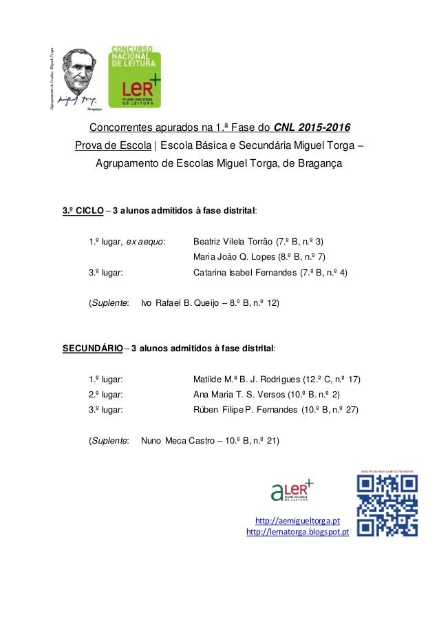 Concorrentes apurados na 1.ª Fase do CNL 2015-2016 Prova de Escola | Escola Básica e Secundária Miguel Torga – Agrupamento...