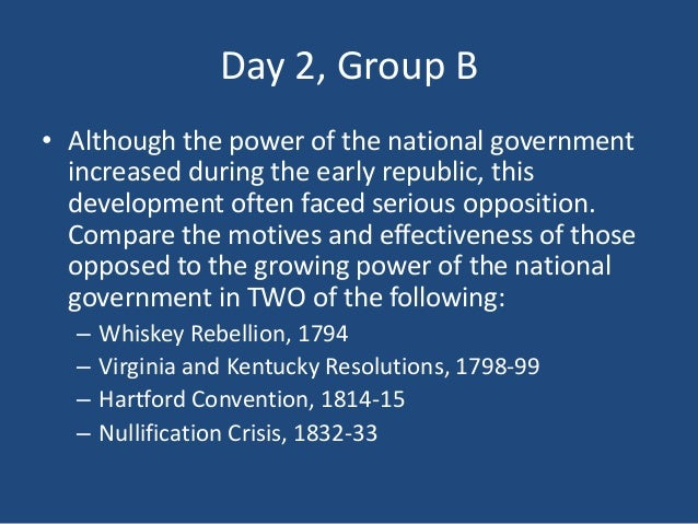 although the power of the national government increased during the early republic this development o