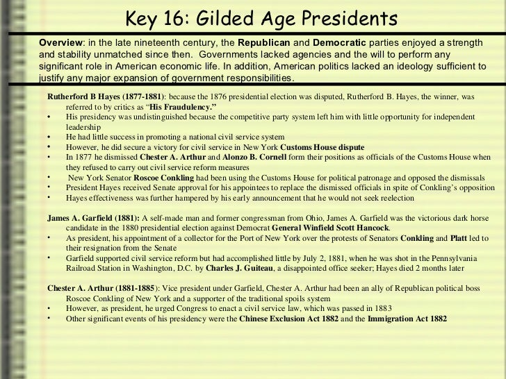 apush keys to unit gilded age politics  4 key 16 gilded age